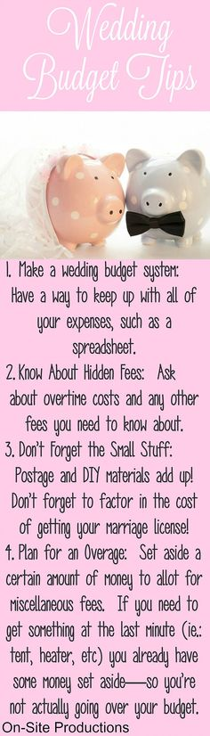 Woah...these are really awesome tips to know BEFORE making a wedding budget.  I really like #4 about planning for an overage, so you're not actually over budget!!!