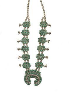PETIT POINT SQUASH BLOSSOM NECKLACE | BOW & ARROW NYC - $1440.