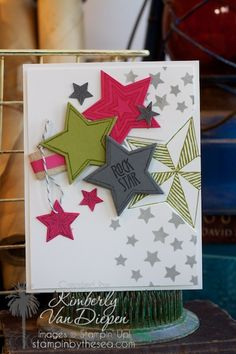 Be the Star | Stampin' Up! :: StampinByTheSea.com  Using star framelit, die cut a star on the right edge of the card making the stamped star looked recessed. Small gray stars created using a stencil.