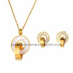 juego collar y aretes de circulos piedra concha en acero dorado inoxidable…