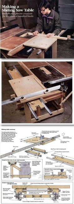 DIY Table Saw Sliding Table - Table Saw Tips, Jigs and Fixtures - Woodwork, Woodworking, Woodworking Plans, Woodworking Projects Table Saw Workbench, Woodworking Table Saw, Best Woodworking Tools, Workbench Plans, Router Woodworking, Woodworking Crafts, Router Table, Woodworking Workshop, Home Made Table Saw