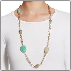 "✨4/22 HP✨ NWT 36""-40"" necklace Adjustable. Colourful (mint green) & neutral simulated stones on gold toned chain. 30%metal, 30% plastic, 20% wood & 10% other.    xztwtwuy Chico's Jewelry Necklaces"
