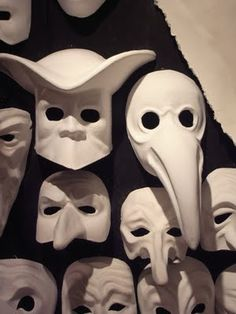 Mask & Masquerade Italy- commedia del arte masks used for theatrical productions to convey different characters Living Puppets, Republic Of Venice, Stock Character, Ceramic Mask, Venice Mask, Plague Doctor, Carnival Masks, Venetian Masks, Masks Art