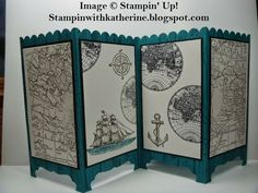 Stampin with Katherine: Stampin' Up! Fancy Fold Cards, Folded Cards, Cute Screen Savers, Screen Cards, Step Cards, Men's Cards, Nautical Cards, Room Screen, Shaped Cards