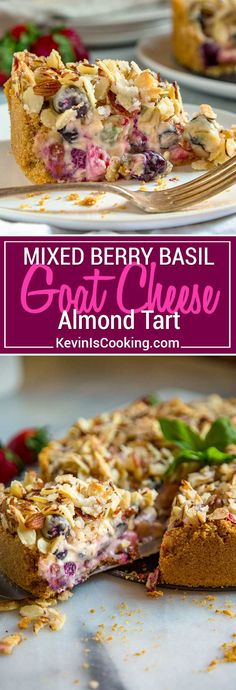 Berry, Goat Cheese and Basil Tart - Tangy goat cheese mixed with fresh berries & basil. A graham cracker crust & crunchy topping is perfect! #cheesecake #berries #almondtart via @keviniscooking