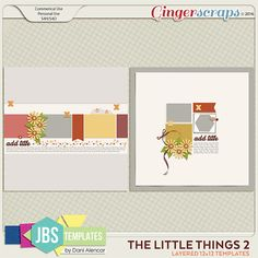 The Little Things 2 Templates (Commercial Use) by JB Studio.. Includes the png, psd, tiff and page file formats. Available at Gngerscraps