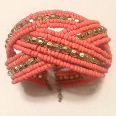 Bracelet Coral and gold beaded bead bracelet🌸perfect for spring!🌸 Jewelry Bracelets