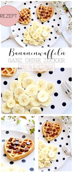 Here is a delicious recipe for homemade banana waffles. The vegan banana waffles are made with a ripe banana and no sugar. Here is a delicious recipe for homemade banana waffles. The vegan banana waffles are made with a ripe banana and no sugar. Healthy Dessert Recipes, Baby Food Recipes, Breakfast Recipes, Breakfast Bake, Vegan Breakfast, Delicious Recipes, Vegan Recipes, Banana Breakfast, Snacks Recipes
