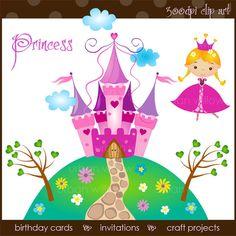 PRINCESS Clip art set in Png & Jpeg files. by LittlePumpkinsPix