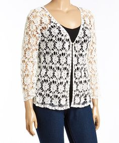 Another great find on #zulily! Cream Sheer Floral Lace Cardigan - Plus #zulilyfinds