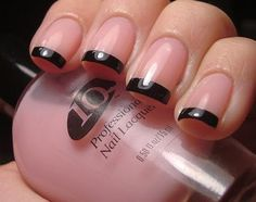 French-tip style nails. Black with sheer pink. #nails #manicure