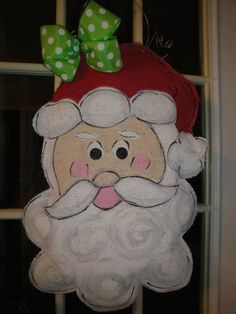 Christmas Santa Burlap Door Hanger Burley by iheartthenest on Etsy, $40.00