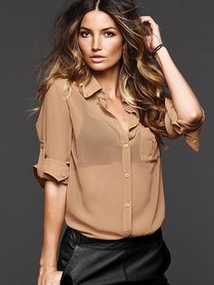 Victoria's Secret brown hair with golden highlights