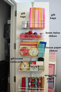 The Avid Appetite - Spacesaving Gift Wrap Station, for upstairs hall closet?