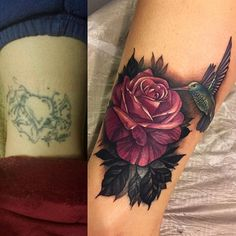 Before and after, on my high school English teacher. Funny, she reminded me how one time in class I told her all I wanted to be when I grow up is a tattoo artist, and she just told me if I do, then I'd have to cover something up for her. Oh how things come full circle  Done here in Tucson at @istaritattoostudio with @paradoxrotary and @fusion_ink