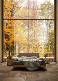 Bauen loves the expansive full height windows! Talk about bringing nature indoors. Glazed stoneware wall/floor tiles FUSION OCHRES by ASTOR CERAMICHE Interior Windows, Interior And Exterior, Interior Walls, Interior Design, Arched Windows, Windows And Doors, Dream Master Bedroom, Wall And Floor Tiles, Wall Tiles