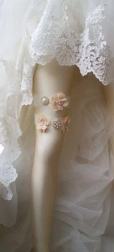 Wedding garter set Wedding Leg Belts  Bridal  by UniqueCeremony Champagne Wedding Shoes, Wedding Garter Set, Lace Garter, Chiffon Flowers, Belts, Dance Shoes, Bridal, Trending Outfits, Unique Jewelry