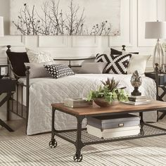 Quilt covering trundle underneath Xander Dark Brown Steel Metal Daybed by TRIBECCA HOME - Free Shipping Today - Overstock.com - 17481589 - Mobile $149