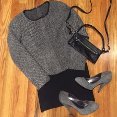 Gap Wool Jacket Gray collarless boucle-style wool blazer with pleather trim at neck. Snaps and zipper. Perfect condition, tried on but never worn. Smoke free, pet free. Black bandage skirt and crossbody clutch also available for sale. Bundle the outfit and save 15%! GAP Jackets & Coats Blazers