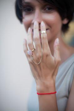 Два кольца на цепочке (с сердечком из розового кварца)