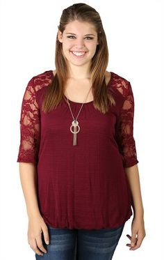 Plus Size Sweater Knit Top with Lace Sleeves and Necklace