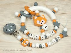 Rattles & Teething Toys - Set of Rattle & Pacifier Chain - a unique product by K . Newborn Toys, Baby Toys, Handgemachtes Baby, Dummy Clips, Pacifier Holder, Baby Teethers, Teething Toys, Baby Gifts, Baby Strollers