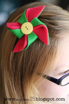 pinwheels hair clips (I made these for a party favor for a roller skating party)