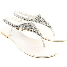 cc32616d816d2c Womens diamante gem panel toe post sparkling silver sandal shoes ladies new  3-8