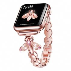 For Apple Watch Band Rose Gold Metal Pink Butterfly Wristband iWatch Strap A great range of steel apple watch bracelets to suit every occasion Trendy Watches, Cool Watches, Watches For Men, Nixon Watches, Cheap Watches, Wrist Watches, Rolex Watches, Gold Apple Watch, Apple Watch Bands
