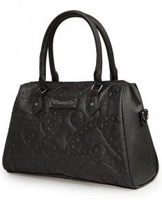Faux Leather Embossed Skull Chain Crossbody Bag by Loungefly (Black)