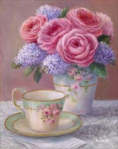 You can almost smell the heady scent of roses and lilacs in this romantic tea time painting! A hand painted tea cup and matching vase are showcased on a delicate lace tablecloth and ready for your aft
