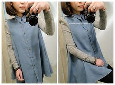Two Toned Button Down Blouse