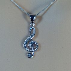 """Sterling Silver Clear CZ Music Note Pendant Necklace, 18"""""""