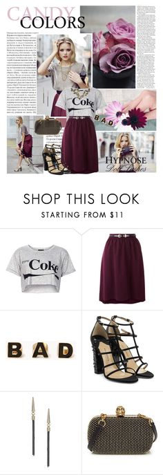 """""""All day in my head You're going round and round"""" by angiielf ❤ liked on Polyvore featuring Lancôme, Topshop, Oasis, Forever 21, Paul Andrew and Alexander McQueen"""
