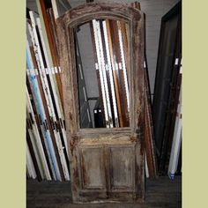 19TH CENTURY ANTIQUE ARCH TOP ENTRY DOOR WITH RAISED MOLDING & CRAZED PAINT FINISH : Architectural Artifacts - Toledo, OH