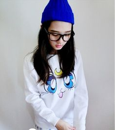 Harajuku Japanese anime hoodies Sailor Moon cute soft sister white hoodies women cute kawaii p-neck casual cotton hoodie ladies