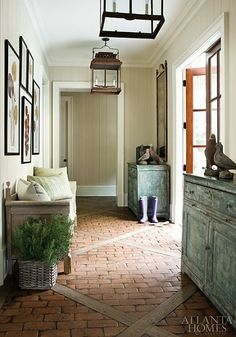 Brick and timber floor Handmade tiles can be colour coordinated and customized re. shape, texture, pattern, etc. by ceramic design studios
