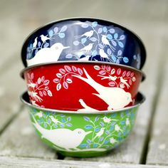 Eva Enamel & Stainless Steel Bowl - Light Blue, Green, Navy or Red, Nkuku, Bird Stainless Steel Bowl, Red Shop, Cook Up A Storm, Milk Glass, Kitchen Interior, Serving Bowls, Cool Things To Buy, Hand Painted, Girly Girl