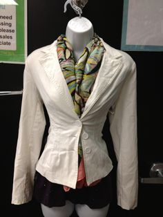 A scarf can really make an outfit! Forever 21 blazer, size M ,$12. Gap tank, size M, $5. Scarf, $7.