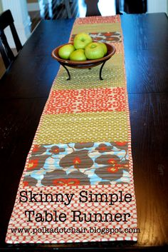 Tuesday Tutorial: Quilted Skinny Simple Table Runner - Really easy project to sew, would be fun to make in holiday fabrics for Christmas -