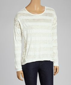 Ivory & Sheer Striped Crocheted Scoop Neck Top