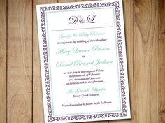 "Vintage Wedding Invitation Template ""Caroline"" Eggplant Purple Mint Green 5x7 Wedding Printable Word Template Formal Wedding Download by PaintTheDayDesigns"