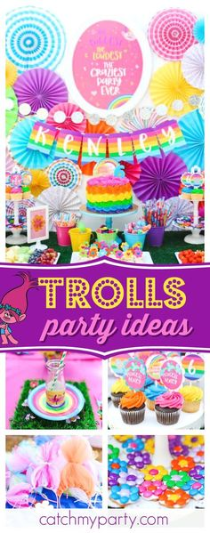 Check out this Troll-tastic Rainbow 6th Birthday! The backdrop is amazing!! See more party ideas and share yours at CatchMyParty.com #trolls #birthdayparty