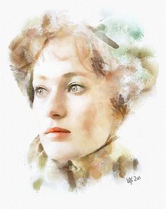 Digital watercolor. Portrait of Russian actress Larisa Guzeeva by Vitaly Shchukin