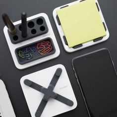 MThings Smartphone Stand & Desktop Organiser - The MThings Smartphone Stand & Desktop Organiser consolidates the space on your cluttered desk, offering a holder for your phone as well as an elegant, convenient way to store office equipment like writing stationery and sticky notes.