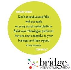 BIM Tuesday Tidbit!  Work smarter not harder! What social media platforms work best for your #business? Post on the #platforms where you are more likely to find and appeal to your #targetaudience. #bimtuesdaytidbit #socialmedia #marketing #digitalmarketing #branding #strategy #consulting #connectwithclients #bridgeinteractivemedia #bimsocialmediaquote