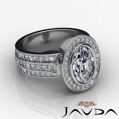 Bezel Halo Pave Set Oval Shape Diamond Engagement Ring GIA H VS2 Platinum 3 15ct | eBay