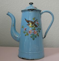 Antique French Floral Enamelware Coffee Pot Pink by sillyhearted