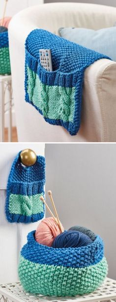 Free Knitting Pattern for Stash n Store Set - This organizer set includes a Sofa Caddy, Basket, and Door Hanger knit with moss stitch and cables in chunky yarn. Designed by Nicola Valiji for Let's Knit magazine.