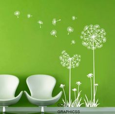 Dandelions in the Wind - White Green Vinyl Wall Decal Sticker Art for bedroom,living room Office Wall Decals, Wall Decals For Bedroom, Nursery Wall Stickers, Bedroom Art, Wall Decal Sticker, Vinyl Wall Decals, Dandelion Wall Decal, Cabinet Medical, Clinic Design